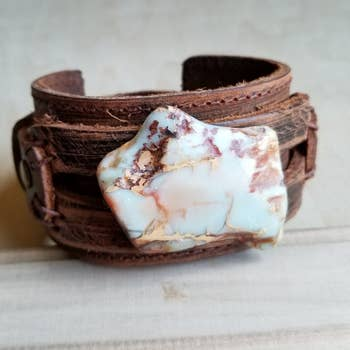 Aqua Terra on Dusty Leather Cuff Bracelet