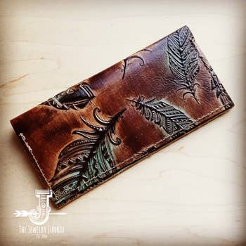Embossed Leather Wallet - Tan and Turquoise Feather