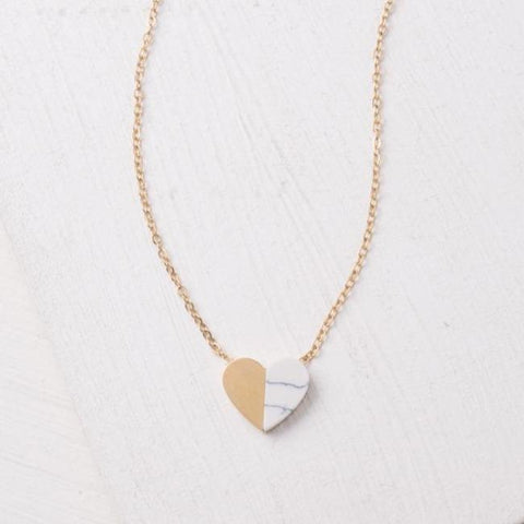 Gold and Marble Heart Necklace