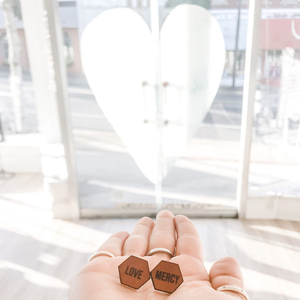 Seek Justice, Love Mercy, Walk Humbly | Hexagon Leather Earrings