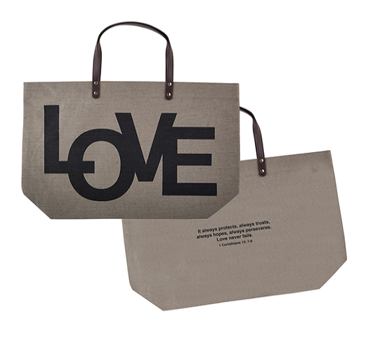 LOVE | 1 Corinthians 13:7-8 Jute Tote Bag
