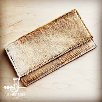 Hair-on-hide Leather Wallet-Light Brindle