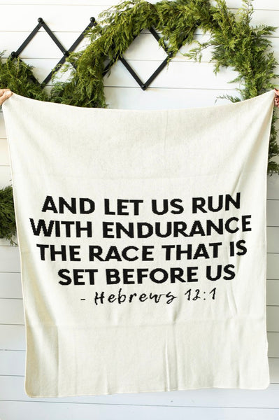 "Made in the USA | Hebrews 12:1 Throw Blanket | Natural: Throw Size 50""x60"""