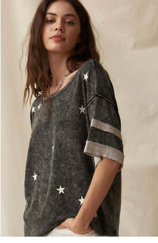 Starry Vintage Varsity Stripe Graphic Tee