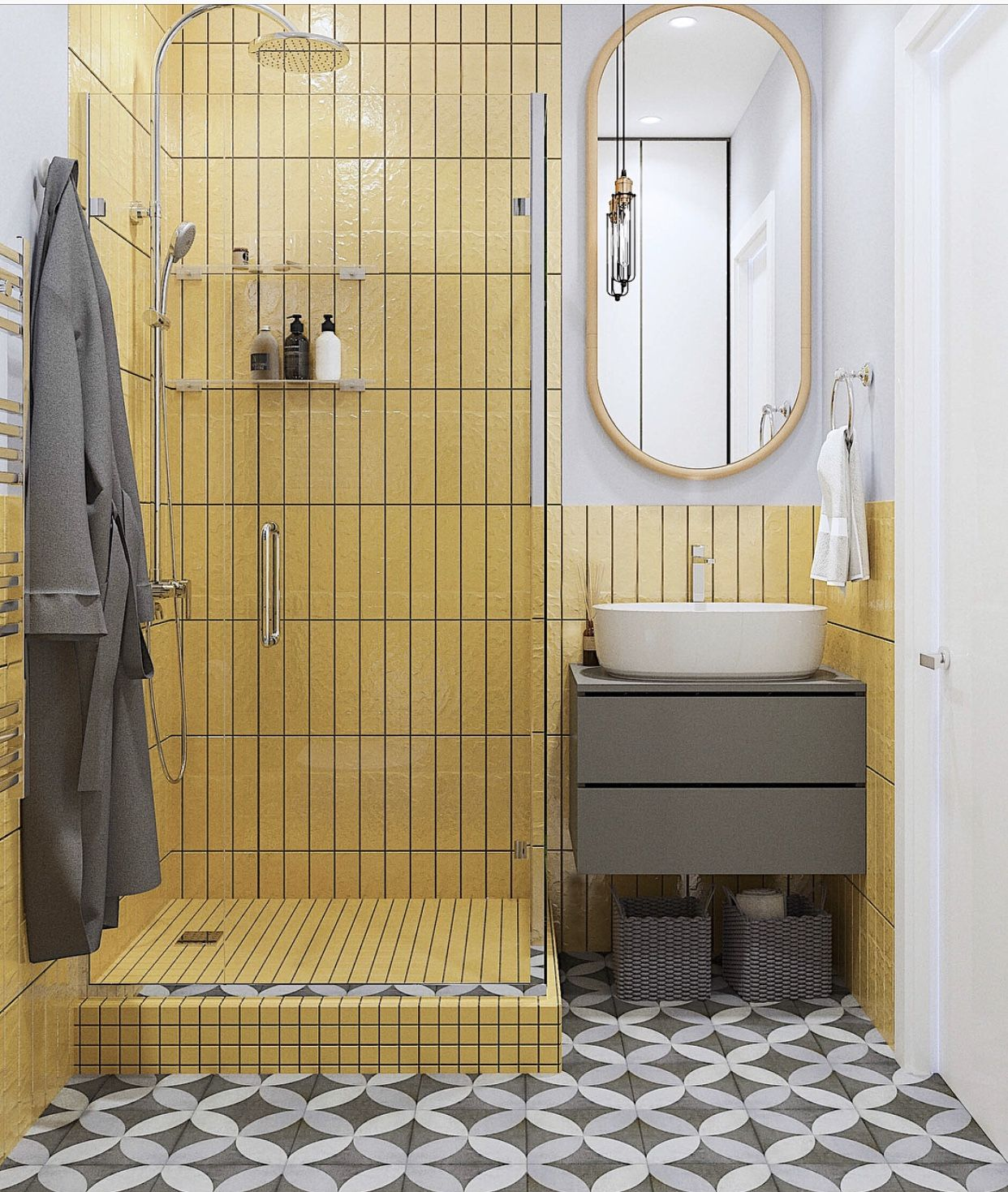 A yellow and monochrome pastel bathroom