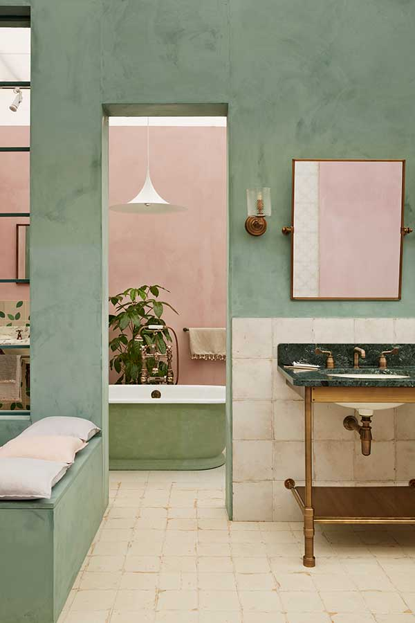 Pink and avocado bathroom - done different!