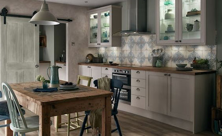 Shaker kitchen with patterned tiles