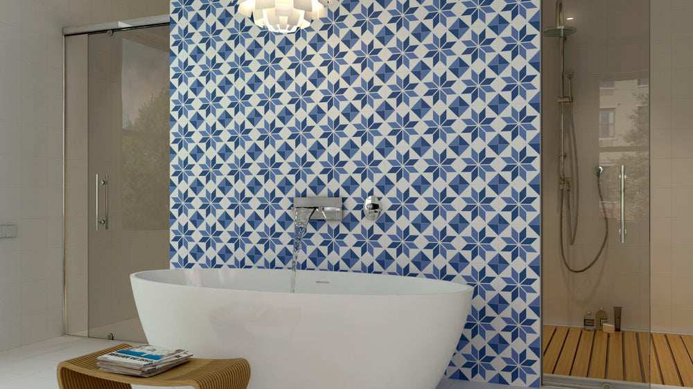 Create graphic feature walls with geometric tiles