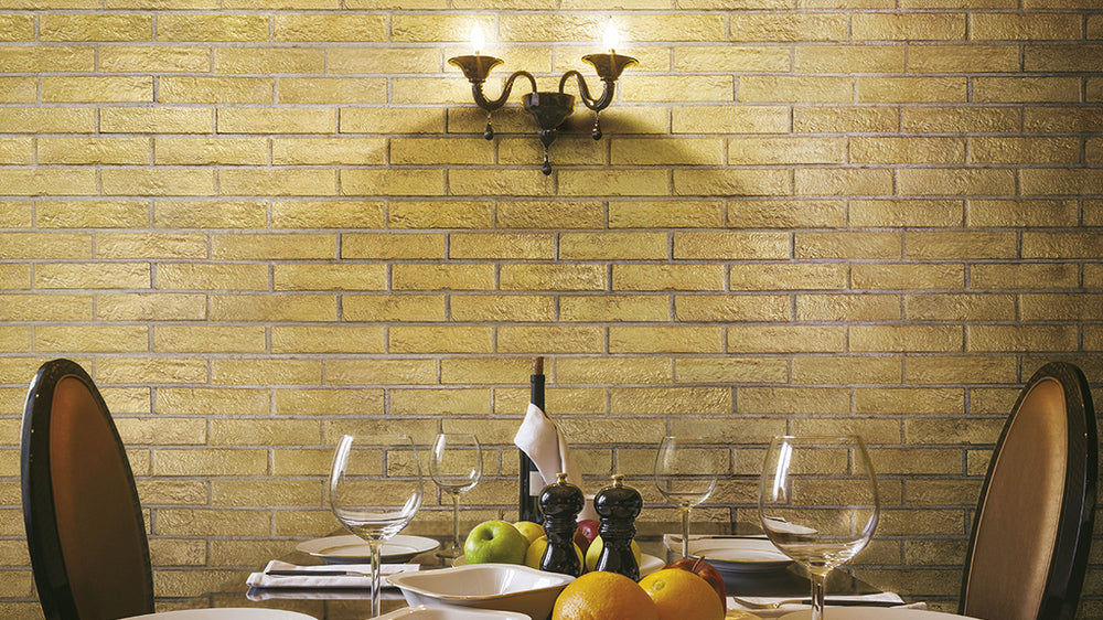Create amazing feature walls with gold tiles