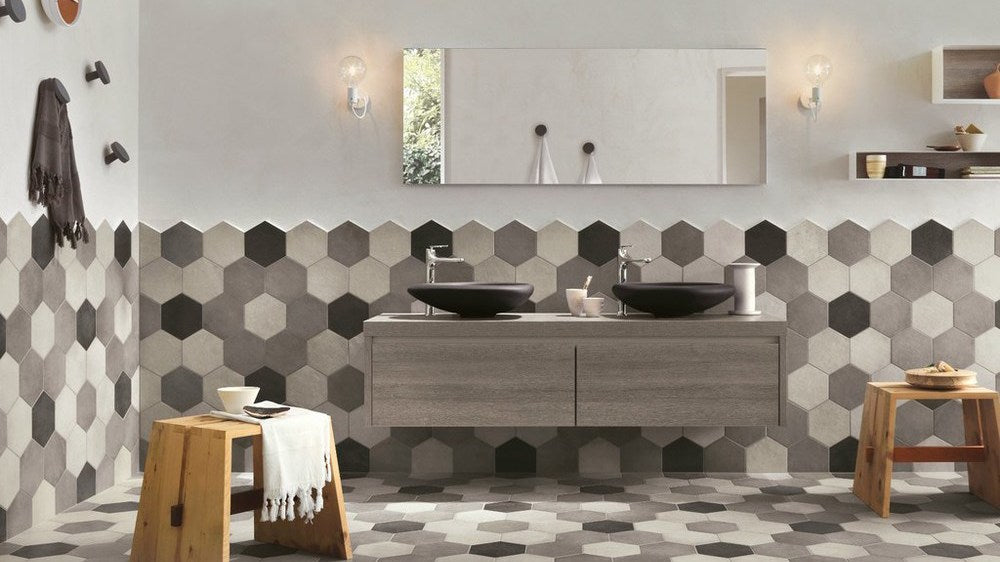Using hexagon tiles to make feature walls