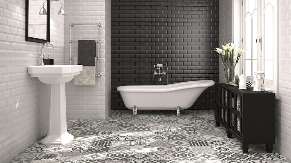 Creating feature walls with monochrome tiles