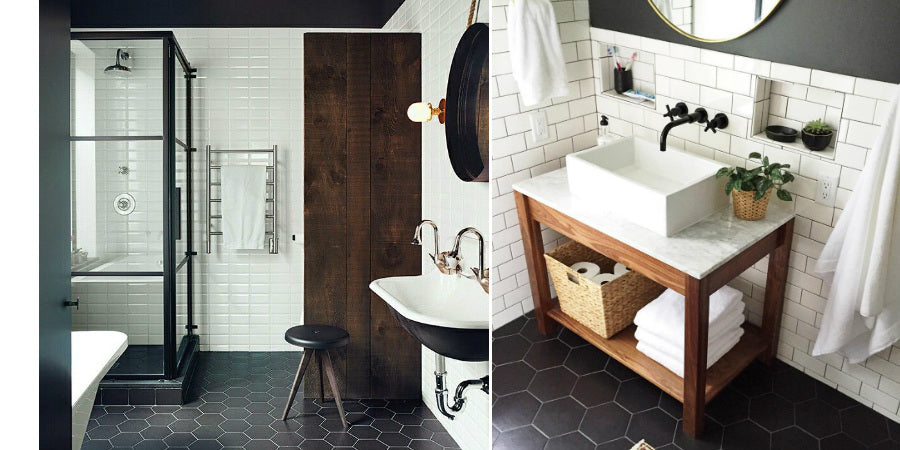 Scandinavian Bathroom With Black And White Tiles