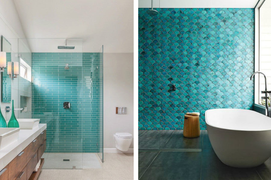 Teal Tiles Feature Wall
