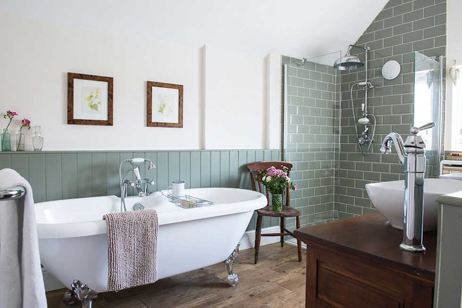 Victorian Bathrooms  With Sage Green Tiles