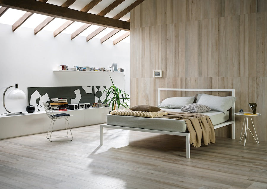 Using wood tiles to create a calm bedroom