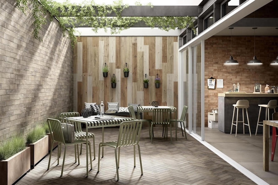 Porcelain Planks Laid On Outside Wall