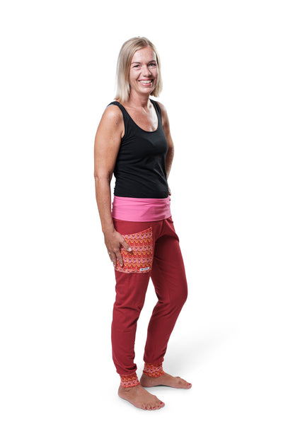 "Yogahose ""Funny Day"" pink/orange/weinrot // Limited Edition"
