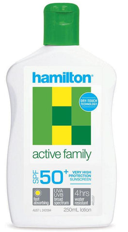 Hamilton Sun Screen SPF 50+ Active Family Lotion 250ml