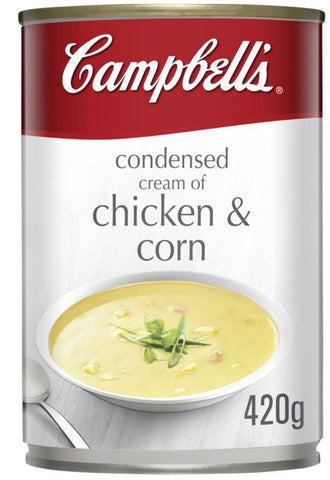 Campbell's Cream of Chicken & Corn Condensed Soup Can 420g