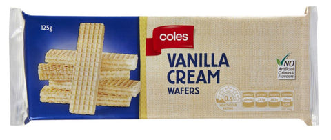 Coles Vanilla Cream Wafers 125g