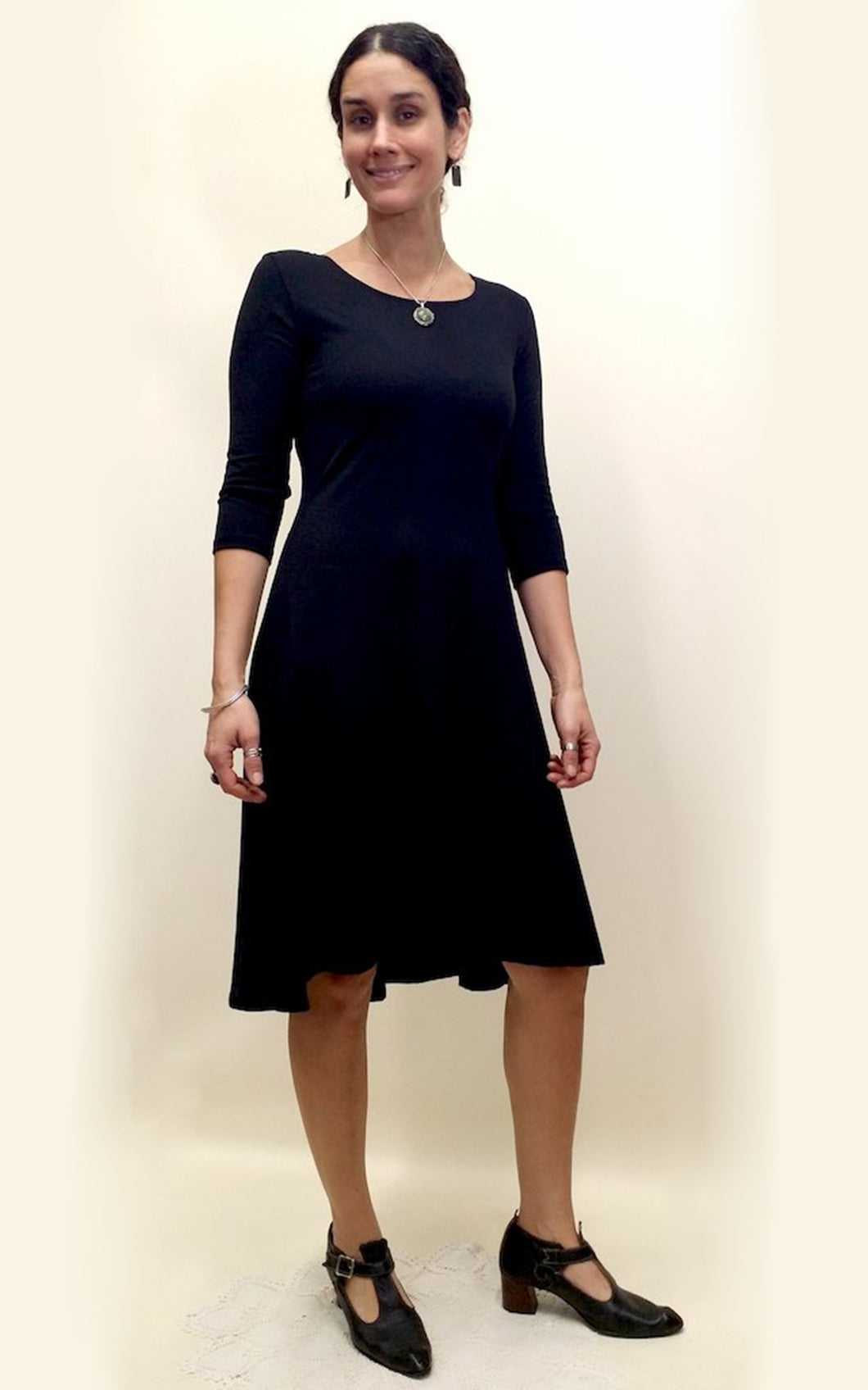 Bamboo Cotton Fitted Tank Dress 3/4 Sleeve Black
