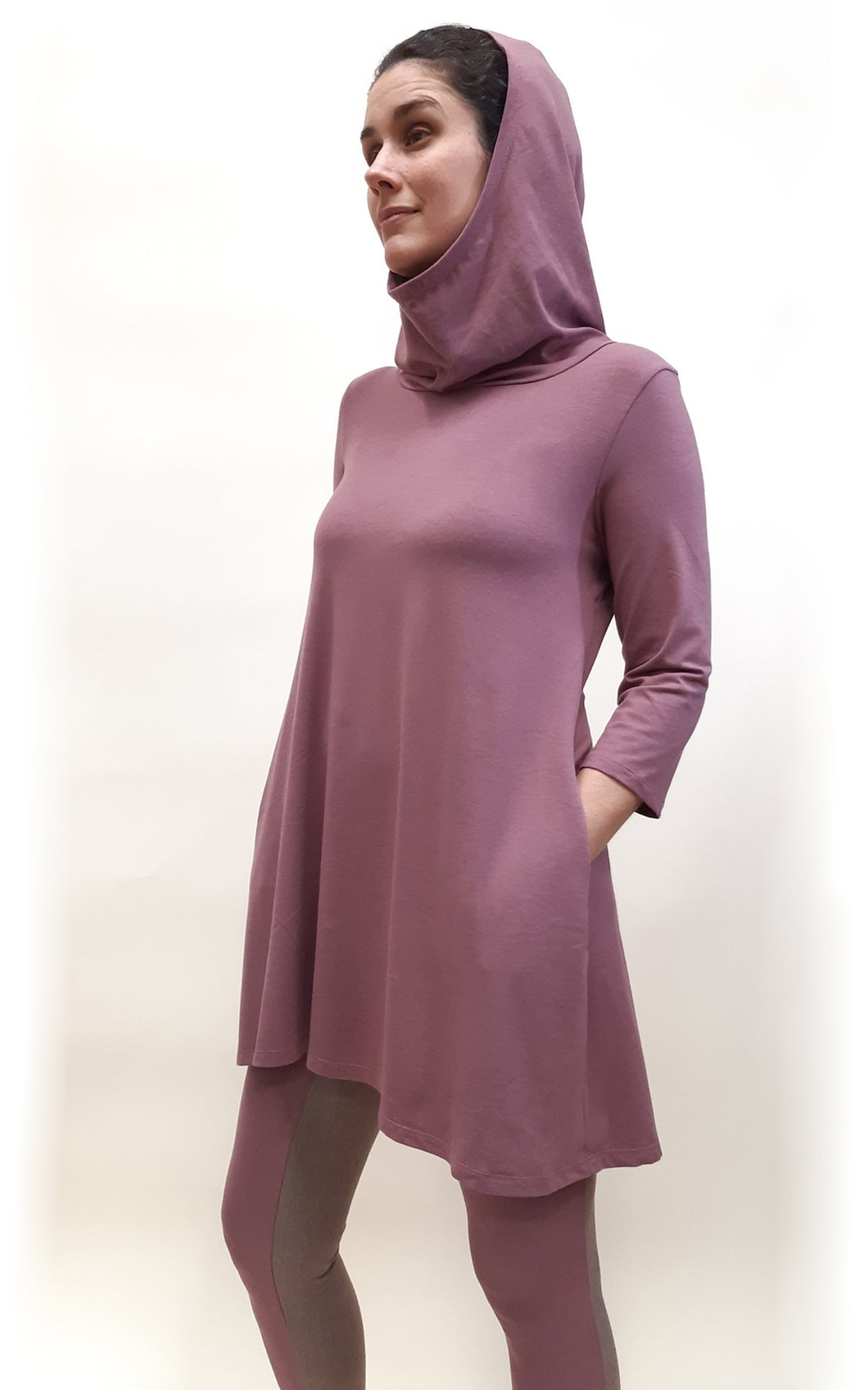 Bamboo Cotton 3/4 Sleeve Hooded Tunic ROSE BROWN