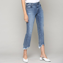 Happi Medium Wash Cropped Flare with Frayed Hem