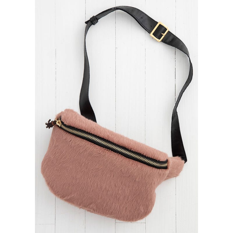 Dusty Rose Fuzzy Fanny Pack