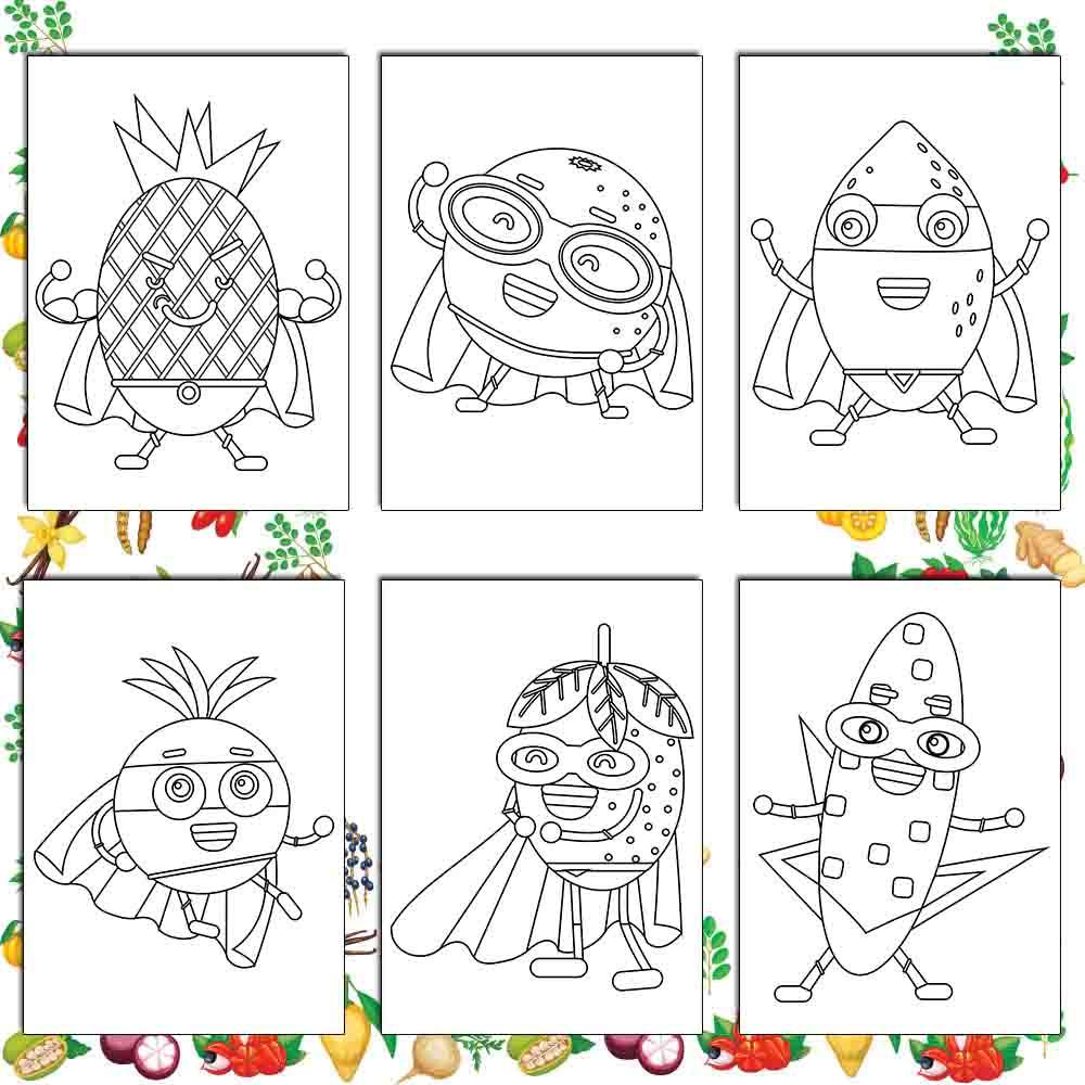 Super Fruits & Vegetables Coloring Pages
