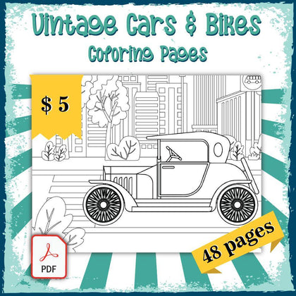 Vintage Cars & Bikes Coloring Pages