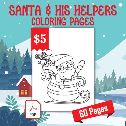Santa and His Helpers Coloring Pages - AmberForrest