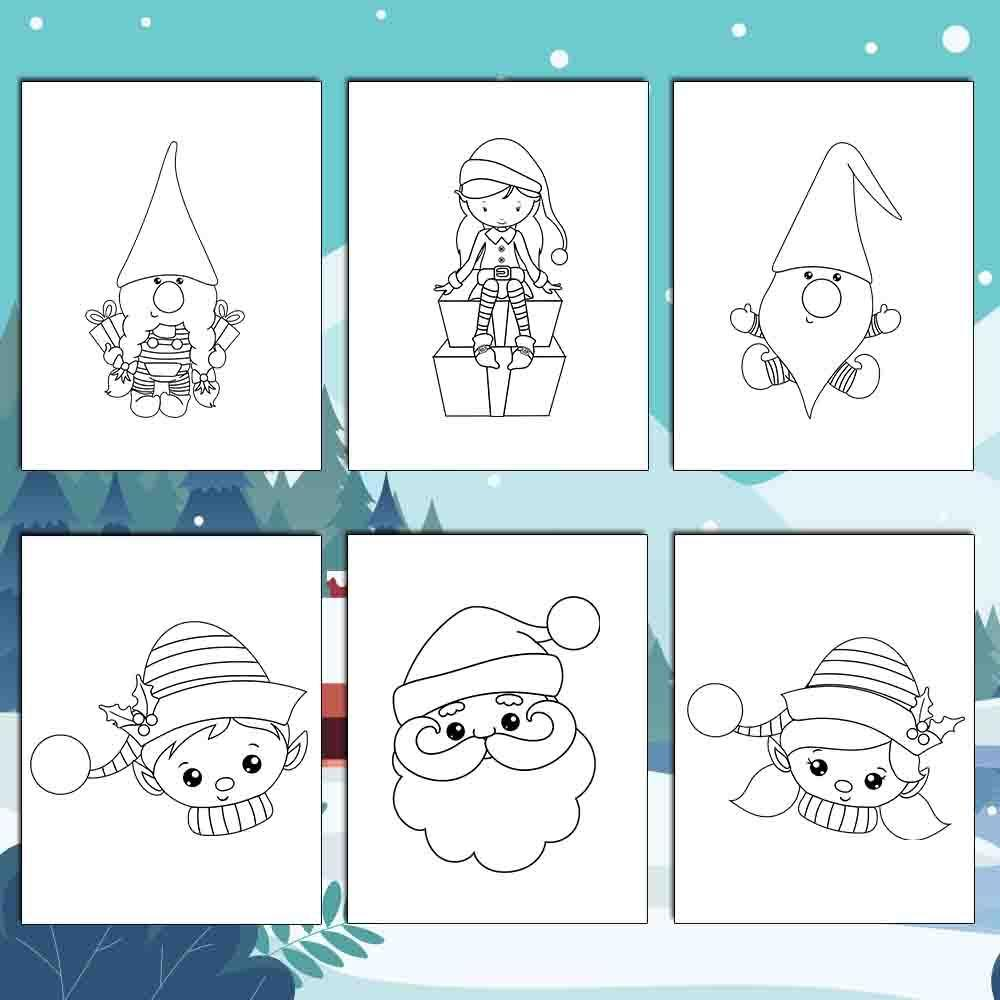 Santa and His Helpers Coloring Pages