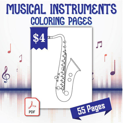 Musical Instruments Coloring Pages - AmberForrest