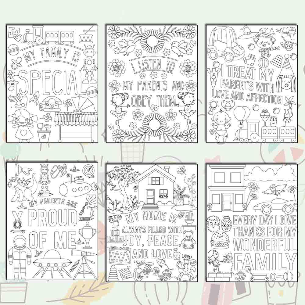 I Love My Family Coloring Pages - AmberForrest