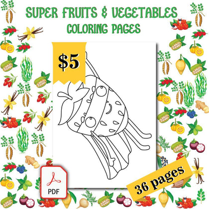 Super Fruits & Vegetables Coloring Pages - AmberForrest