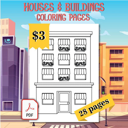 Houses & Buildings Coloring Pages - AmberForrest