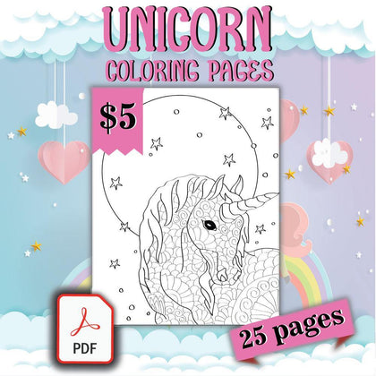 Unicorn Coloring Pages - AmberForrest