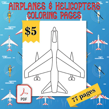 Airplanes & Helicopters Coloring Pages