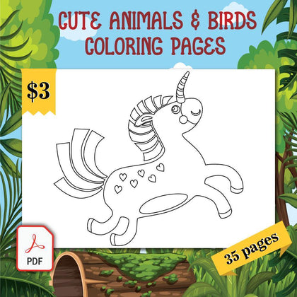 Cute Animals & Birds Coloring Pages