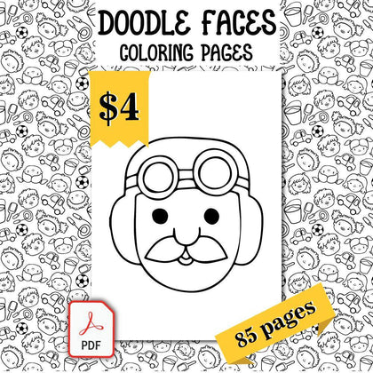 Doodle Faces Coloring Pages - AmberForrest