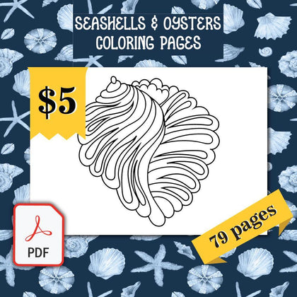 Seashells & Oysters Coloring Pages - AmberForrest