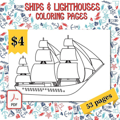 Ships & Lighthouses Coloring Pages - AmberForrest