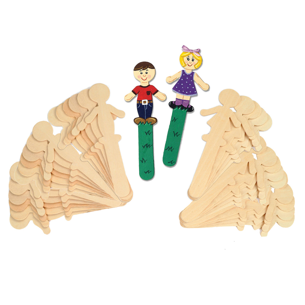 People Shaped Wood Craft 36 Pcs Sticks 18 Each - Kiddren
