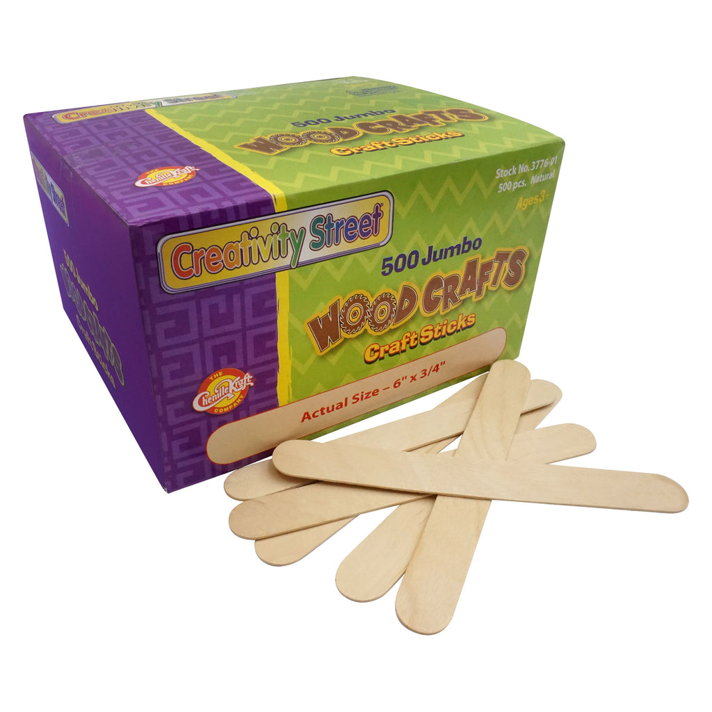 Jumbo Craft Sticks 500-pk Natural - Kiddren
