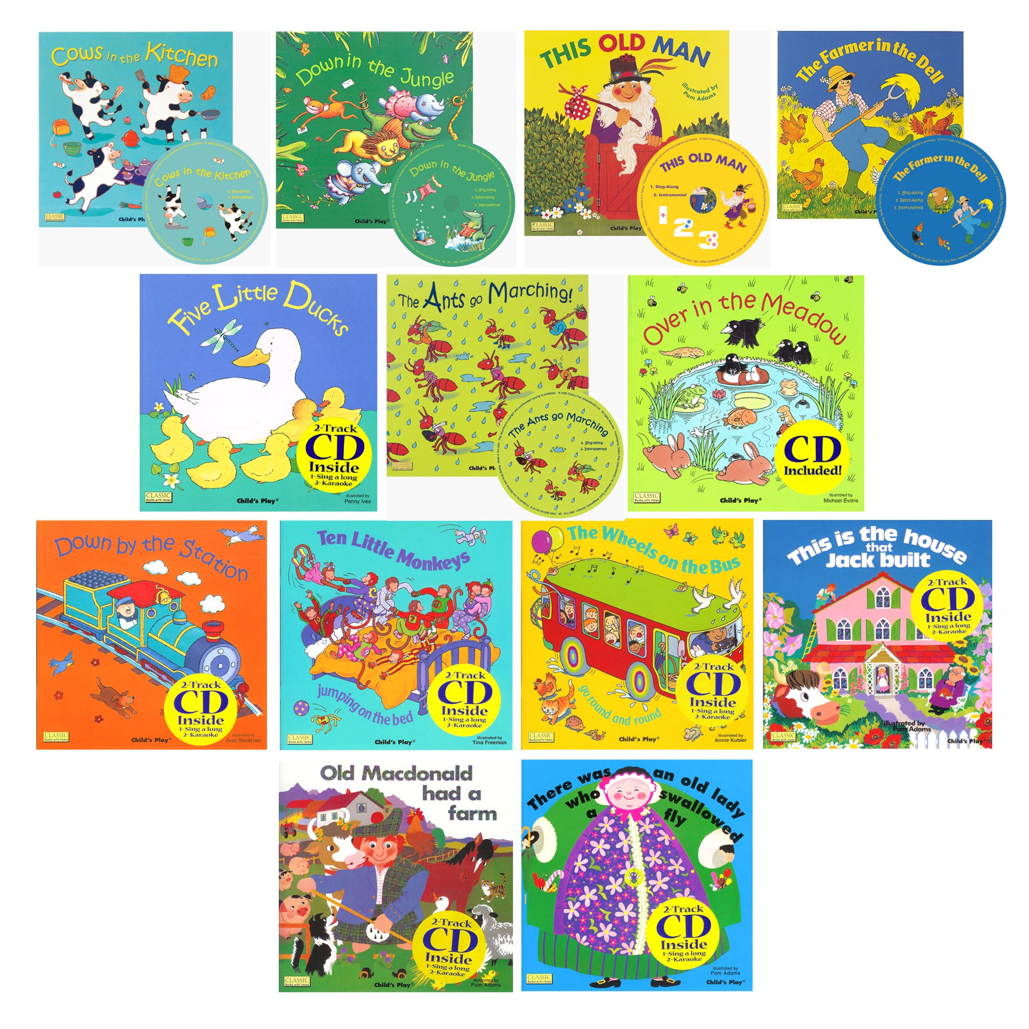 Songs And Rhymes Collection Set 1 - 13 8x8 Books With Cd - Kiddren