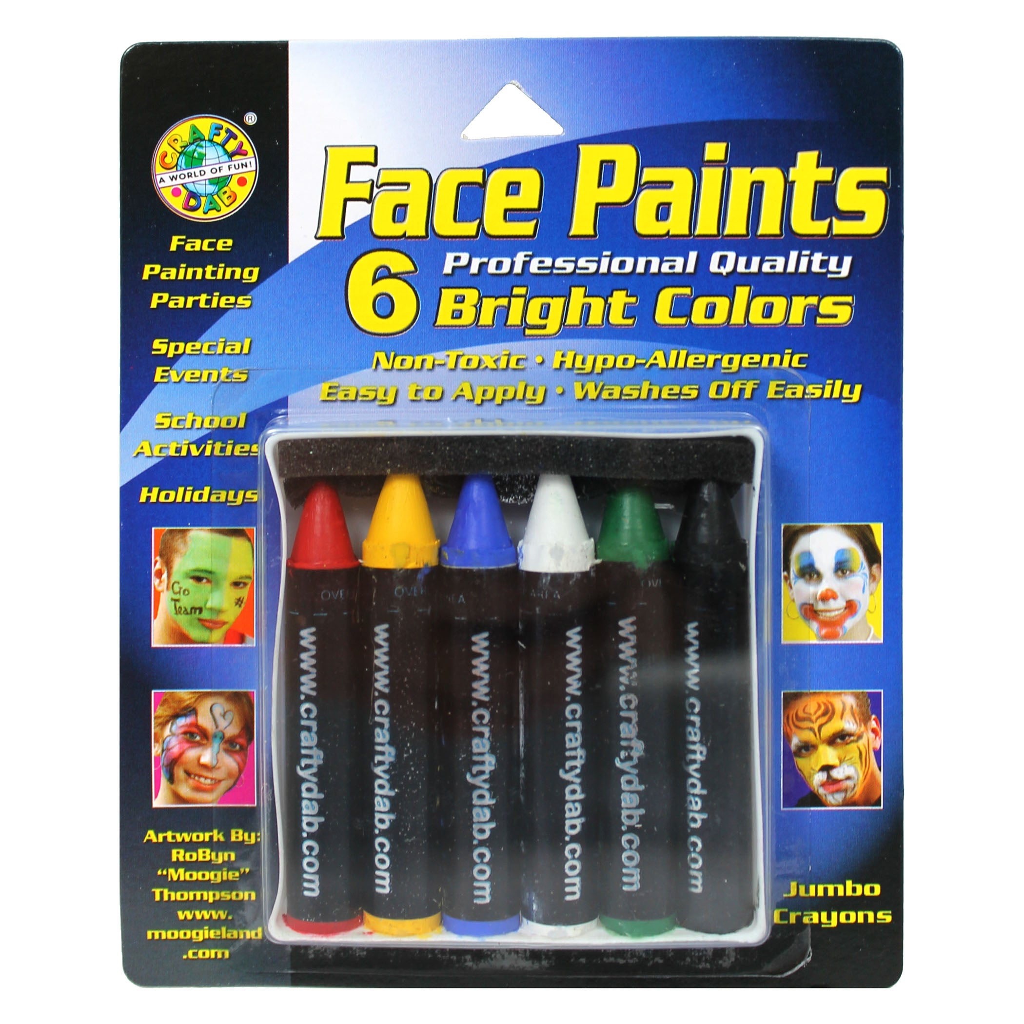 Crafty Dab Jumbo Crayon Face 6 Pk Bright Paints - Kiddren