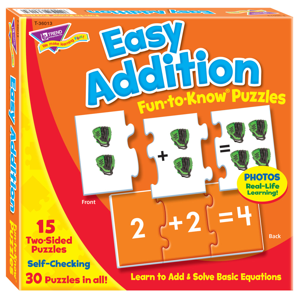Easy Addition Puz Fun-to-know Puzzles - Kiddren