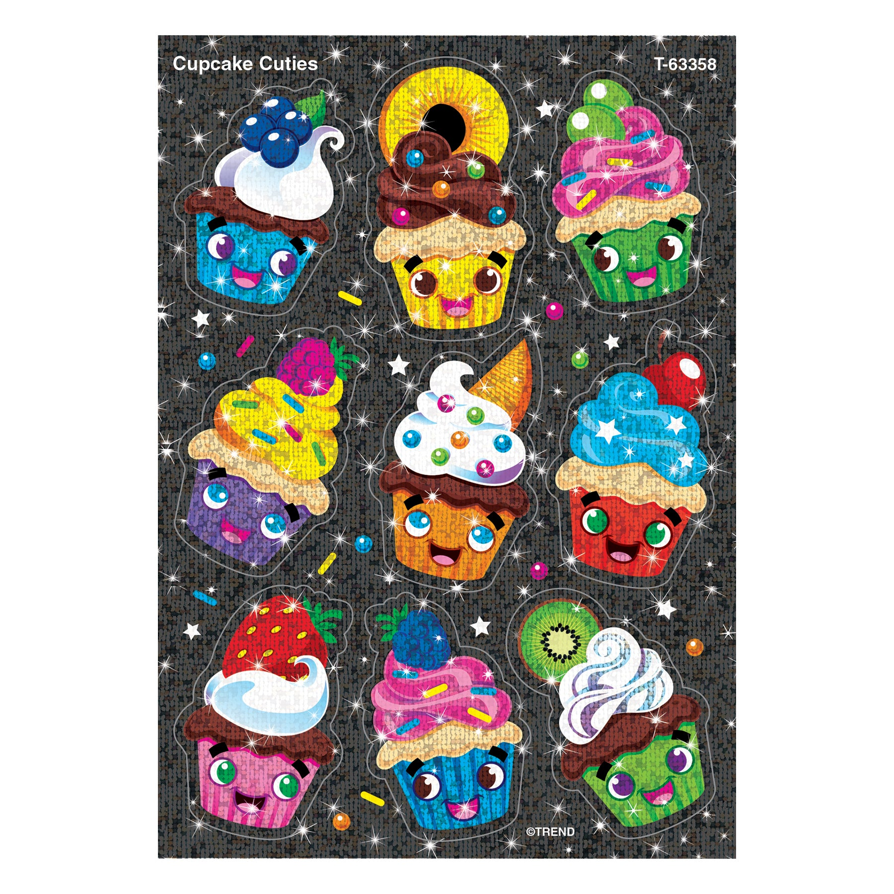 Cupcake Cuties Sparkle Stickers 18 Ct - Kiddren