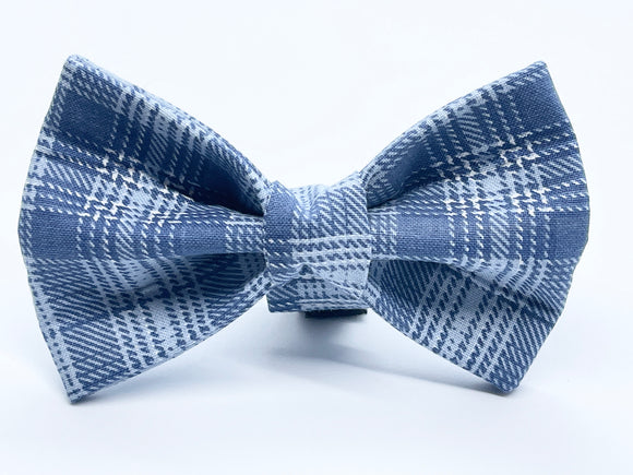 Cool Blue Plaid Doggy Bowtie