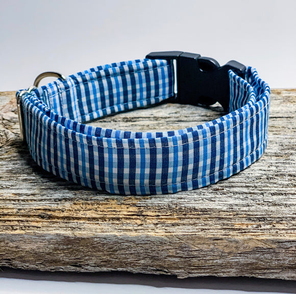 Blue Plaid Dog Collar   - Doggy Bowtie available separately